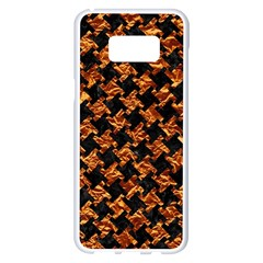 Houndstooth2 Black Marble & Copper Foil Samsung Galaxy S8 Plus White Seamless Case by trendistuff