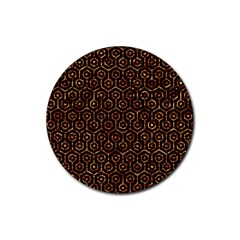 Hexagon1 Black Marble & Copper Foil Rubber Coaster (round)  by trendistuff
