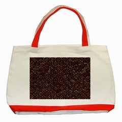 Hexagon1 Black Marble & Copper Foil Classic Tote Bag (red) by trendistuff