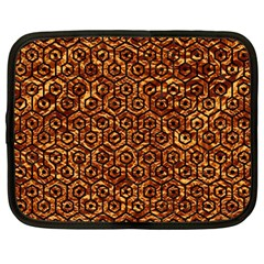 Hexagon1 Black Marble & Copper Foil (r)ble & Copper Foil (r) Netbook Case (large) by trendistuff