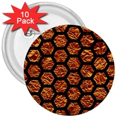 Hexagon2 Black Marble & Copper Foil (r) 3  Buttons (10 Pack)