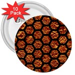 HEXAGON2 BLACK MARBLE & COPPER FOIL (R) 3  Buttons (10 pack)  Front