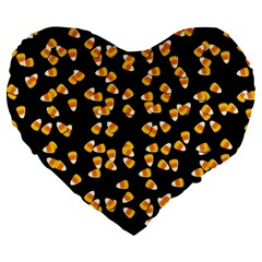 Candy Corn Large 19  Premium Heart Shape Cushions by Valentinaart