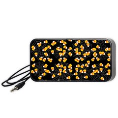 Candy Corn Portable Speaker (black) by Valentinaart