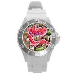 Dreamy Floral 5 Round Plastic Sport Watch (l) by MoreColorsinLife
