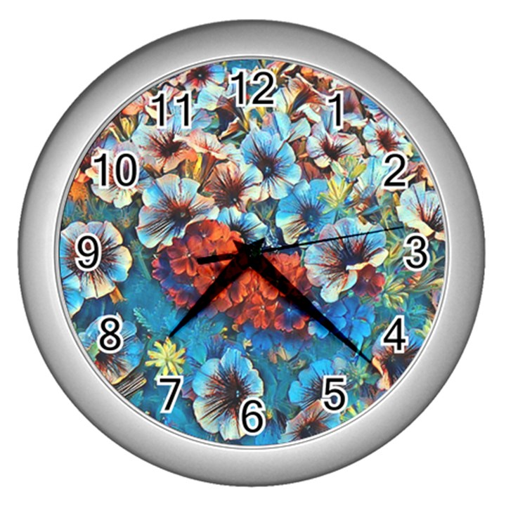 Dreamy Floral 3 Wall Clocks (Silver)
