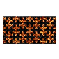 Puzzle1 Black Marble & Copper Foil Satin Shawl by trendistuff