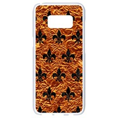 Royal1 Black Marble & Copper Foil Samsung Galaxy S8 White Seamless Case by trendistuff