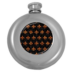 Royal1 Black Marble & Copper Foil (r) Round Hip Flask (5 Oz) by trendistuff