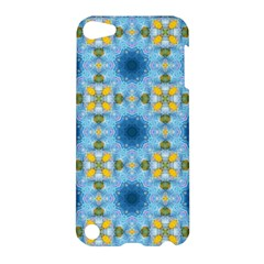 Blue Nice Daisy Flower Ang Yellow Squares Apple Ipod Touch 5 Hardshell Case by MaryIllustrations