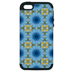 Blue Nice Daisy Flower Ang Yellow Squares Apple Iphone 5 Hardshell Case (pc+silicone) by MaryIllustrations