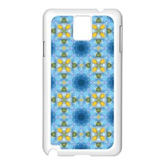 Blue Nice Daisy Flower Ang Yellow Squares Samsung Galaxy Note 3 N9005 Case (white)
