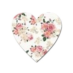Pink And White Flowers  Heart Magnet by MaryIllustrations
