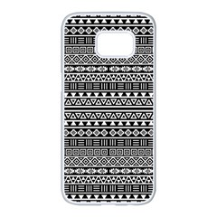 Aztec Influence Pattern Samsung Galaxy S7 Edge White Seamless Case by ValentinaDesign