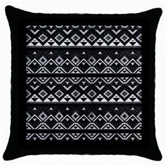 Aztec Influence Pattern Throw Pillow Case (black) by ValentinaDesign