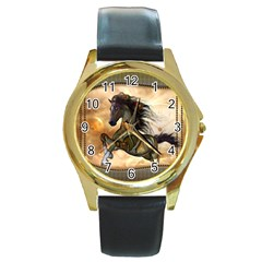 Steampunk, Wonderful Steampunk Horse With Clocks And Gears, Golden Design Round Gold Metal Watch by FantasyWorld7