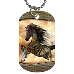 Steampunk, Wonderful Steampunk Horse With Clocks And Gears, Golden Design Dog Tag (two Sides) by FantasyWorld7