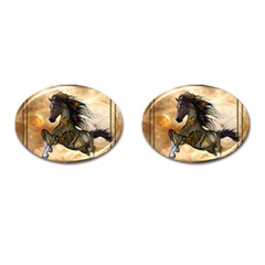 Steampunk, Wonderful Steampunk Horse With Clocks And Gears, Golden Design Cufflinks (oval) by FantasyWorld7