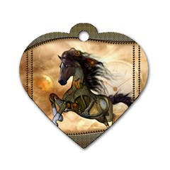 Steampunk, Wonderful Steampunk Horse With Clocks And Gears, Golden Design Dog Tag Heart (two Sides) by FantasyWorld7