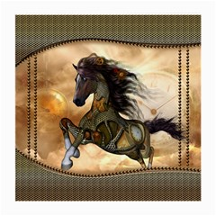 Steampunk, Wonderful Steampunk Horse With Clocks And Gears, Golden Design Medium Glasses Cloth (2 Side) by FantasyWorld7