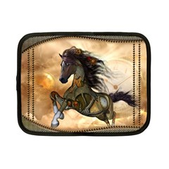 Steampunk, Wonderful Steampunk Horse With Clocks And Gears, Golden Design Netbook Case (small)  by FantasyWorld7