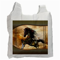 Steampunk, Wonderful Steampunk Horse With Clocks And Gears, Golden Design Recycle Bag (one Side) by FantasyWorld7