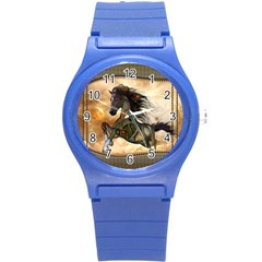 Steampunk, Wonderful Steampunk Horse With Clocks And Gears, Golden Design Round Plastic Sport Watch (s) by FantasyWorld7