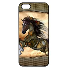 Steampunk, Wonderful Steampunk Horse With Clocks And Gears, Golden Design Apple Iphone 5 Seamless Case (black) by FantasyWorld7