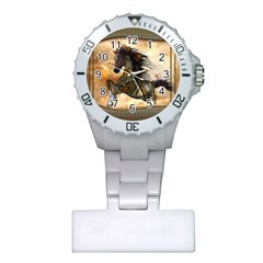 Steampunk, Wonderful Steampunk Horse With Clocks And Gears, Golden Design Plastic Nurses Watch by FantasyWorld7