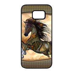Steampunk, Wonderful Steampunk Horse With Clocks And Gears, Golden Design Samsung Galaxy S7 Edge Black Seamless Case by FantasyWorld7