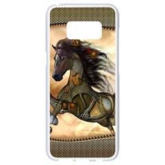 Steampunk, Wonderful Steampunk Horse With Clocks And Gears, Golden Design Samsung Galaxy S8 White Seamless Case by FantasyWorld7