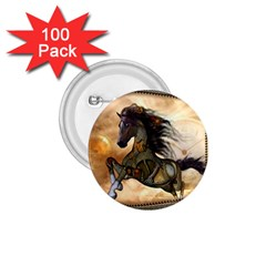 Steampunk, Wonderful Steampunk Horse With Clocks And Gears, Golden Design 1 75  Buttons (100 Pack)  by FantasyWorld7