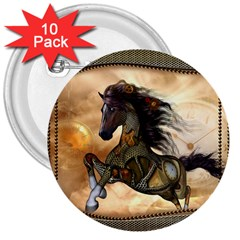Steampunk, Wonderful Steampunk Horse With Clocks And Gears, Golden Design 3  Buttons (10 Pack)  by FantasyWorld7