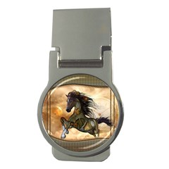 Steampunk, Wonderful Steampunk Horse With Clocks And Gears, Golden Design Money Clips (round)  by FantasyWorld7