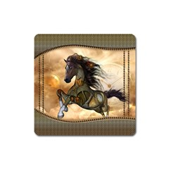Steampunk, Wonderful Steampunk Horse With Clocks And Gears, Golden Design Square Magnet by FantasyWorld7