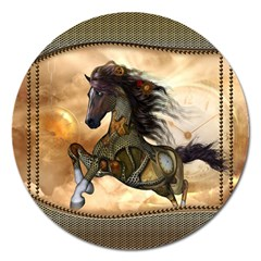 Steampunk, Wonderful Steampunk Horse With Clocks And Gears, Golden Design Magnet 5  (round) by FantasyWorld7
