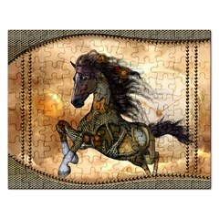 Steampunk, Wonderful Steampunk Horse With Clocks And Gears, Golden Design Rectangular Jigsaw Puzzl by FantasyWorld7