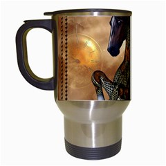 Steampunk, Wonderful Steampunk Horse With Clocks And Gears, Golden Design Travel Mugs (white) by FantasyWorld7