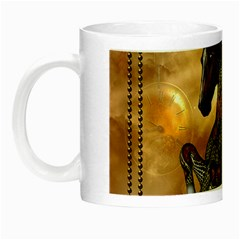 Steampunk, Wonderful Steampunk Horse With Clocks And Gears, Golden Design Night Luminous Mugs by FantasyWorld7