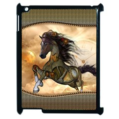 Steampunk, Wonderful Steampunk Horse With Clocks And Gears, Golden Design Apple Ipad 2 Case (black) by FantasyWorld7