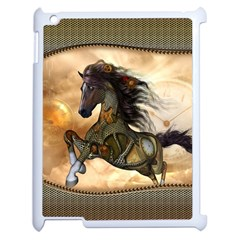 Steampunk, Wonderful Steampunk Horse With Clocks And Gears, Golden Design Apple Ipad 2 Case (white) by FantasyWorld7