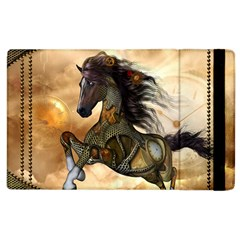 Steampunk, Wonderful Steampunk Horse With Clocks And Gears, Golden Design Apple Ipad 2 Flip Case by FantasyWorld7