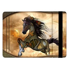 Steampunk, Wonderful Steampunk Horse With Clocks And Gears, Golden Design Samsung Galaxy Tab Pro 12 2  Flip Case by FantasyWorld7