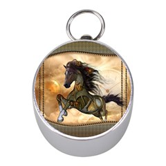 Steampunk, Wonderful Steampunk Horse With Clocks And Gears, Golden Design Mini Silver Compasses by FantasyWorld7