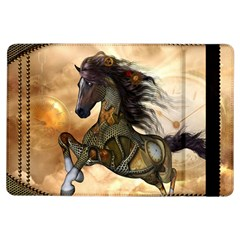 Steampunk, Wonderful Steampunk Horse With Clocks And Gears, Golden Design Ipad Air Flip by FantasyWorld7