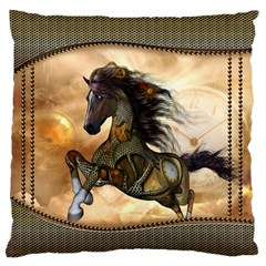 Steampunk, Wonderful Steampunk Horse With Clocks And Gears, Golden Design Standard Flano Cushion Case (one Side) by FantasyWorld7