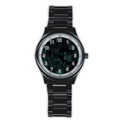 Abstract Art Stainless Steel Round Watch