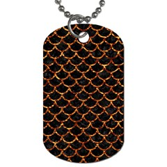 Scales1 Black Marble & Copper Foil Dog Tag (two Sides) by trendistuff