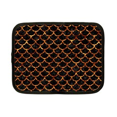 Scales1 Black Marble & Copper Foil Netbook Case (small)  by trendistuff