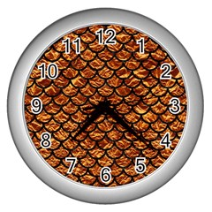 Scales1 Black Marble & Copper Foil (r) Wall Clocks (silver)  by trendistuff
